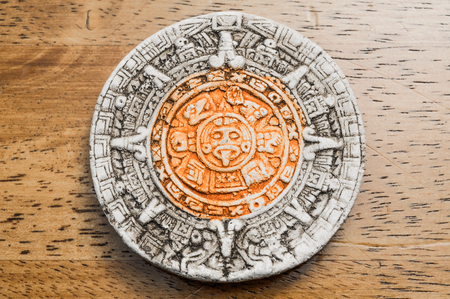 ancient civilization: Close up view of a Mayan Calendar Stock Photo