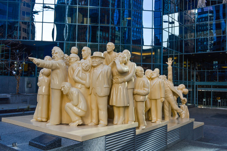 polyurethane: The Illuminated Crowd is a public sculpture, made in 1985 by artist Raymond Mason from stratified polyester resin with polyurethane paint.