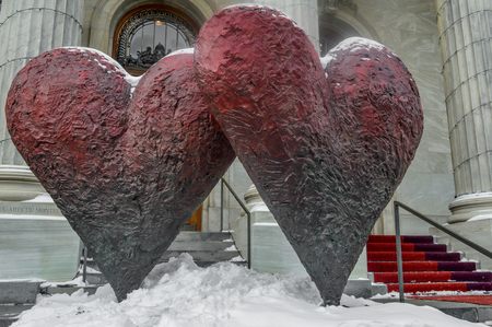 MONTREAL CANADA 17 January, 2015: The iconic sculpture of Twin 6 Hearts by Jim Dine Outside the Montreal Museum of Fine Arts