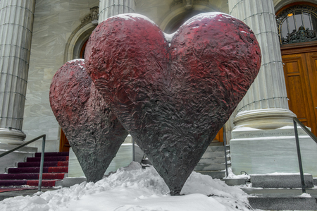 dada: MONTREAL CANADA 17 January, 2015: The iconic sculpture of Twin 6 Hearts by Jim Dine Outside the Montreal Museum of Fine Arts