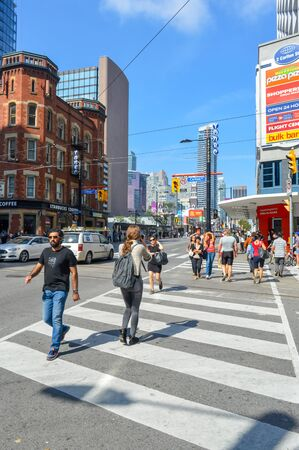 Toronto, Canada- 27 August, 2015:: Street view of downtown Toronto, in Toronto, ON. Editorial