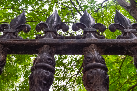 iron fence: Iron fence element close up in Montreal, Canada. Stock Photo