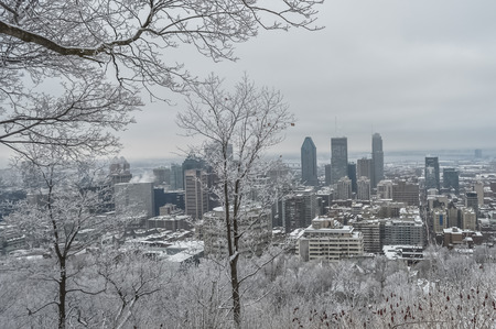 Montreal downtown in snow in Canada