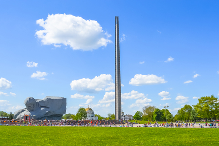 bayonet: Main monument Brest Fortress - sculpture of Unknown soldier and hundred-meter bayonet obelisk, Belarus.