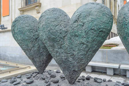 jim: MONTREAL CANADA 17 January, 2015: The iconic sculpture of Twin 6 Hearts by Jim Dine Outside the Montreal Museum of Fine Arts