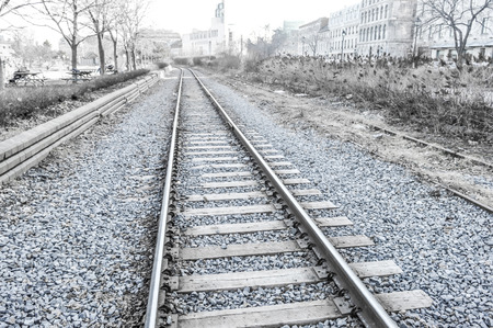 Old rail road in Old Port of Montreal, Canada. Stok Fotoğraf