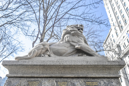 belfort: Montreal, Canada - March 27, 2016: Lion de Belfort, an attribute to Queen Victoria, Dominion Square, downtown, Montreal, Canada.