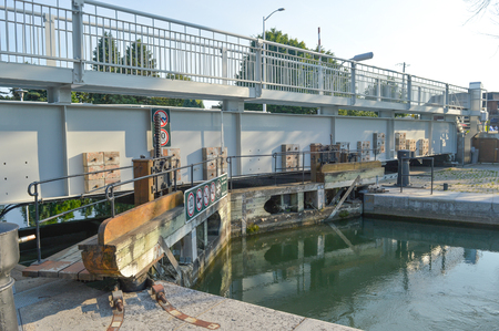 canal lock: Chambly, Canada - 24 June 2016: Chambly Canal lock system.