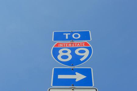 Interstate 89 sign in Burlington, Vermont