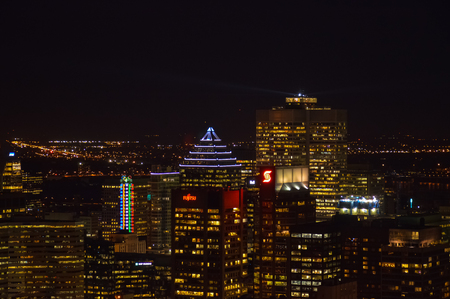 nightime: Montreal skyline in Quebec, Canada