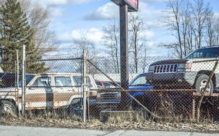 junk: Cars scrapyard in Montreal