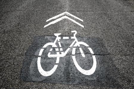 White bike path sign in Canada