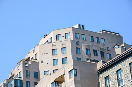 Modern condo buildings in downtown Montreal, Canada