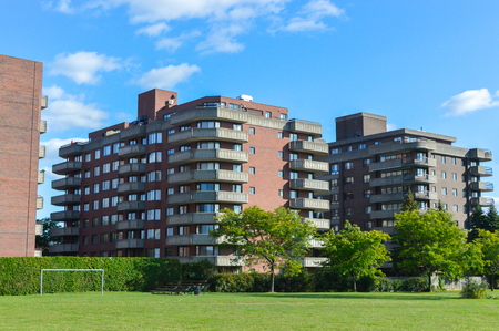 Modern condo buildings in Cote Saint-Luc, Canada