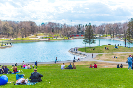 Montreal, Canada - May 5, 2018: Beaver Lake - Mount Royal Park, Montreal, Quebec, Canada (Lac des Castors - Parc Mont Royal, Montréal, Québec, Canada)