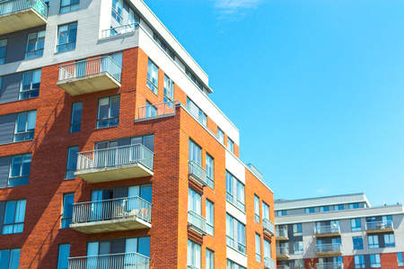 Modern condo buildings with huge windows in Montreal, Canada.