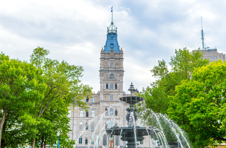 Quebec parliament and fountain in Quebec city