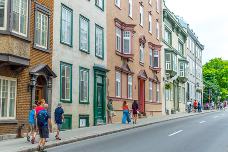 Quebec City, Quebec, Canada - June 23,  2018: Pedestrian exploring french charm of old town