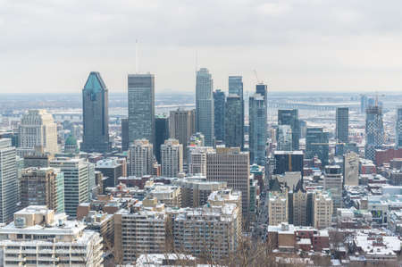 Montreal, Canada - February 16, 2020: Montreal Skyline from Kondiaronk Belvedere / Mont-Royal in Winter