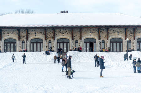 Montreal, Canada - February 16, 2020: Mount Royal Chalet (French: Chalet du Mont-Royal) is a famous building located near the top of Mount Royal in winter in Montreal, Quebec, Canada Publikacyjne