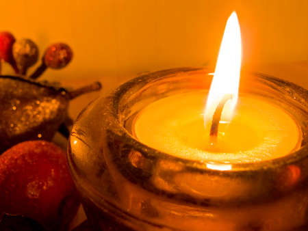 Candle with fall decorations Stock Photo - 1703328