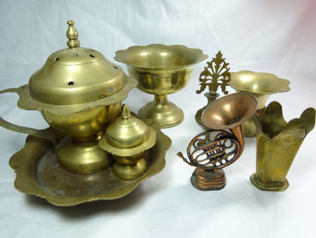 bronze bowl: Malaysian antique equipment and utensil on white background Stock Photo