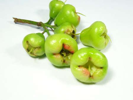 unripe: unripe water apple fruits on white background