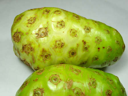 great morinda: A ripe cheese fruit close up in white background, photo taken in Malaysia Stock Photo