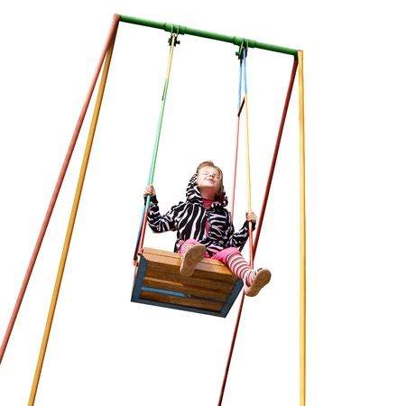 happy little girl on a swing isolated on white background cutout