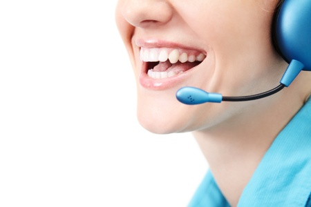 call: beautiful smile call center operator, isolated over white background