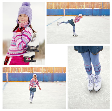 winter photos: cute little girl in a hat and a sweater ice skating. child winter outdoors on ice rink. set photos