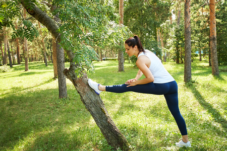 sporty woman doing sports outdoor. fitness, yoga and healthy lifestyle 写真素材