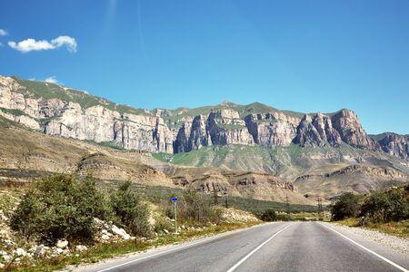 picturesque winding mountain highway. asphalt empty road 스톡 콘텐츠