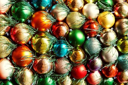 multicolored Christmas balls. background with decorations for Christmas and New Year.