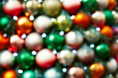 multicolored blurred balls. background with decorations for Christmas and New Year. Stockfoto