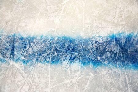 Hockey blue line on ice skating rink. winter sport background