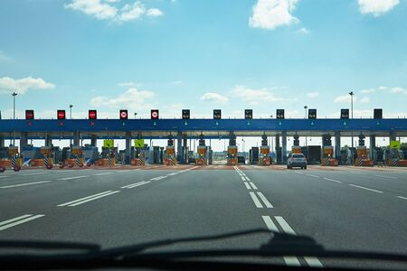 automatic point of payment on a toll road. turnpike