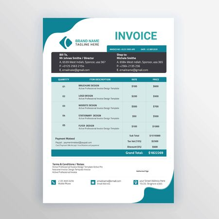 Corporate Business Invoices Template Design