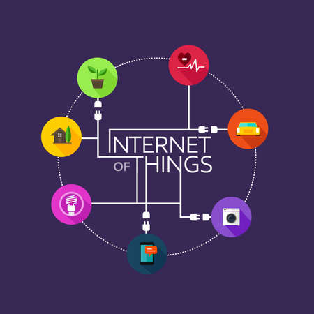 Represent internet of this (IoT) that connecting things like smart home, smart car, daily things such as washing machine, home automation,medical & health sensors, energy consumption (lamp), agriulture automation (represented with plant), mobile or smartp Ilustrace