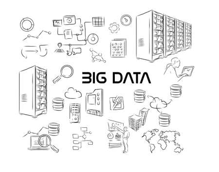 unstructured: Big Data Illustration hand drawing Stock Photo