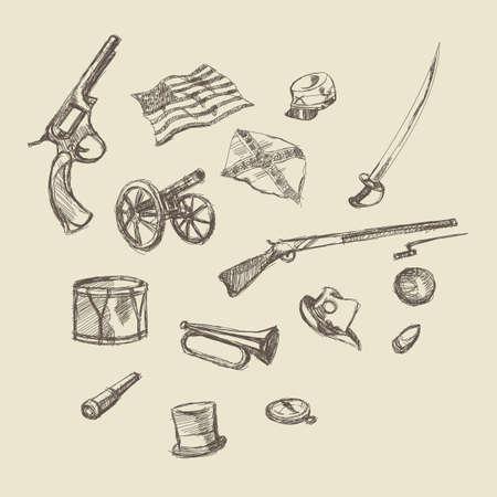 civil war: Civil war object hand drawing illustration