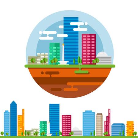 jakarta: Jakarta city landscape in vector flat Illustration