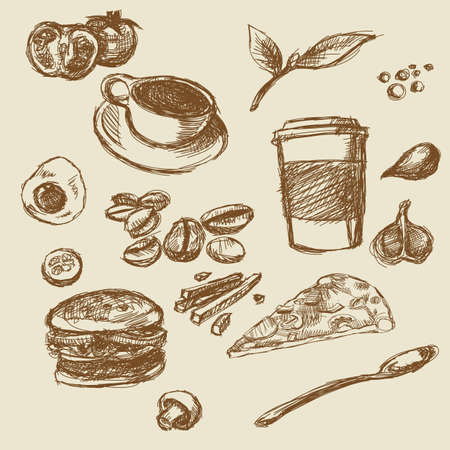 caffe: Caffe food hand drawn illustration no color Stock Photo