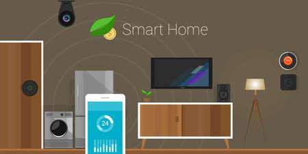 Smart Home conectado a Internet de las Cosas Ilustración de vector