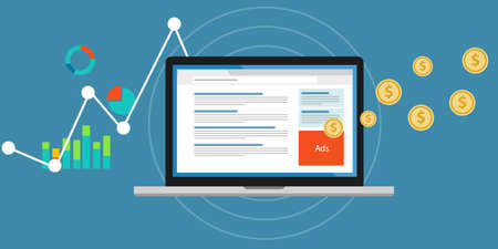 klik: Online adverteren pay per click clickjacking Stock Illustratie