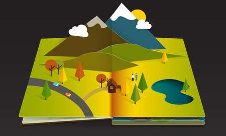 open car: Fall Season Mountain Forest Popup Book paper
