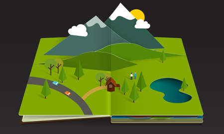 open car: Mountain Forest Popup Book paper