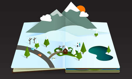 Winter Mountain Forest Popup Book paper Vector