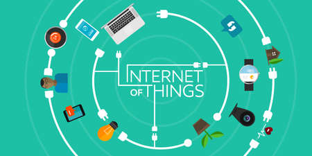 Internet of Things flat iconic illustration Çizim