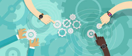 collaboration: vector working crowdsource engine gear people meeting Illustration